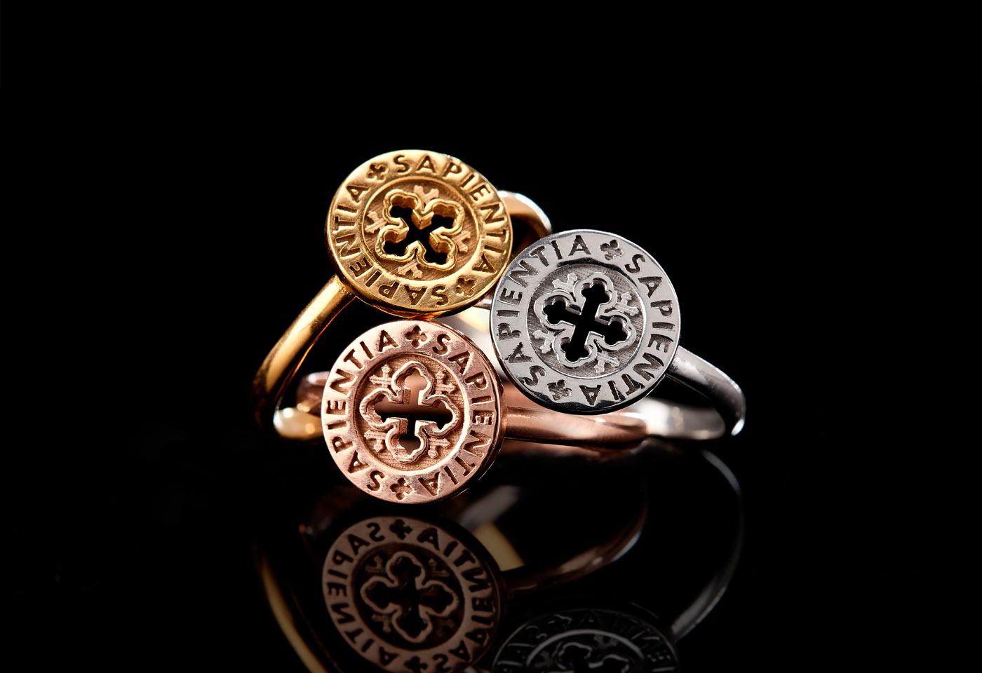 anello dono sapientia in oro 9kt giallo bianco rosa settedoni tuum