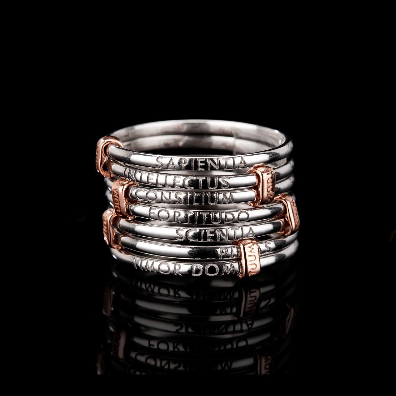 anello settedoni in argento rodiato e oro rosa 9 kt