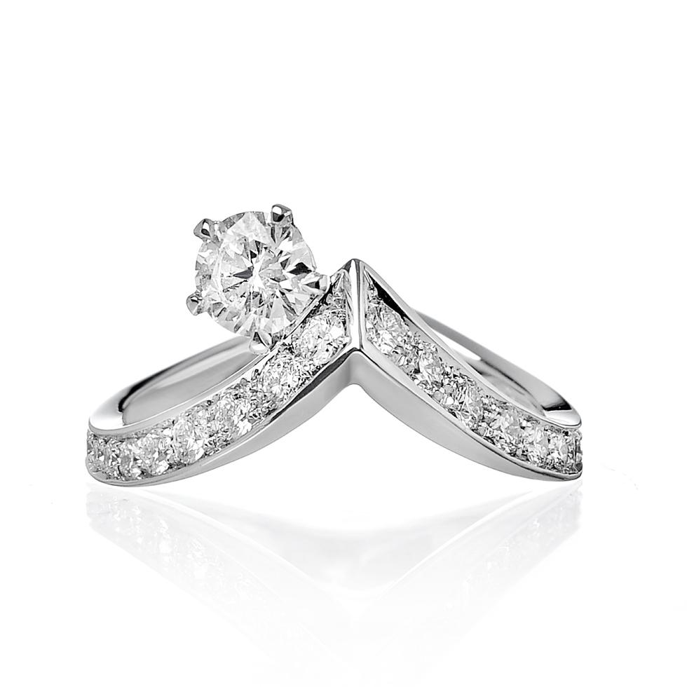 Sinuo Anello di diamanti e oro bianco Delicata Marea Forever Unique Tracce D'oro Gioielli